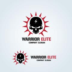 Warrior Elite logo, skull logo, rock logo, vector logo template