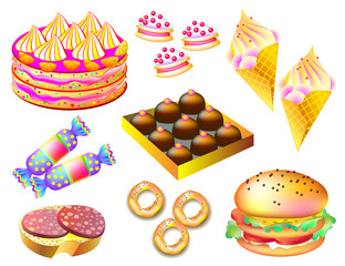 Set of different types of food and sweets on white background, vector cartoon image.
