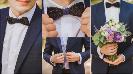 Wedding collage. Young stylish man dressed in modern formal clothes. Close up of elegant hands of guy in jacket, white shirt, brown wooden bowtie. Person ready for wedding celebration or graduation.