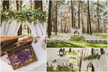 Wedding collage. Details of outside decoration for wedding ceremony: gold rings in wooden box, white beautiful arch for vows decorated with flowers, rows of chairs along aisle in scenic background.