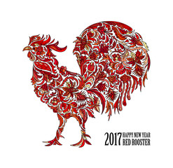 Vector red rooster for the Chinese New year 2017