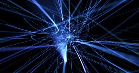 Fotoväggar - blue dynamic modern abstract wave energy streaks on black background