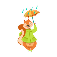 Red Squirrel In Autumn Coat With Umbrella Under The Rain Humanized Cartoon Cute Forest Animal Character Childish Illustration