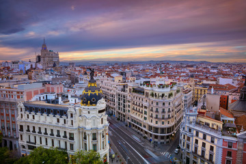 Madrid. Cityscape image of Madrid, Spain during sunset.