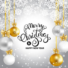 Merry Christmas and Happy New Year greeting card with gold, white, silver balls, snowflakes. Merry Christmas calligraphy. Vector illustration.