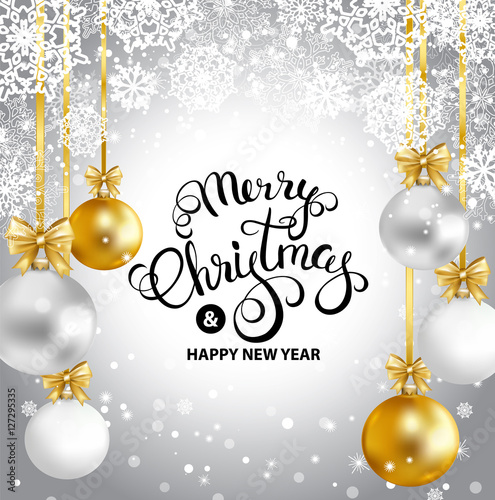 merry christmas and happy new year greeting card with gold white silver balls