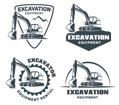 Set of excavator logos, emblems and badges isolated on white background. Constructing equipment design elements. Heavy excavator machine with shovel.