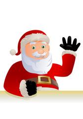 happy santa claus say hi on isolated white background