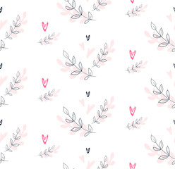 Hand drawn seamless pattern. Repetition background for textiles, packing, wrapping paper or wallpapers. Isolated vector illustration. - 127300100