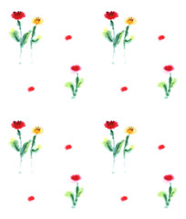 Hand drawn seamless pattern. Repetition background for textiles, packing, wrapping paper or wallpapers. Isolated vector illustration.