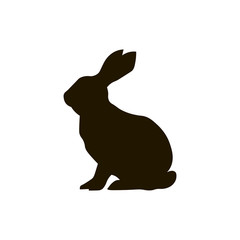 Silhouette of rabbit isolated on white backbround
