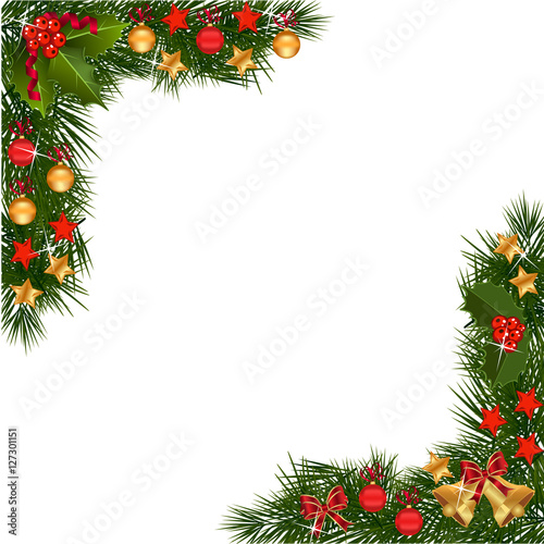 Christmas Garland With Golden Decorations Stock Image And Royalty