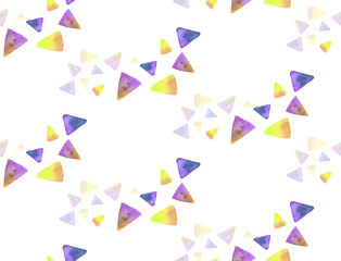 Seamless handmade watercolor pattern triangles