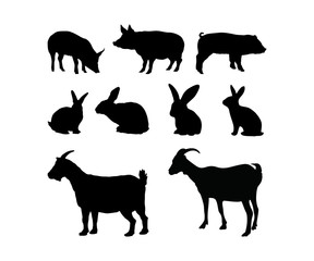 Silhouette Animal Pig Rabbit Goat Farm Livestock Vector Set