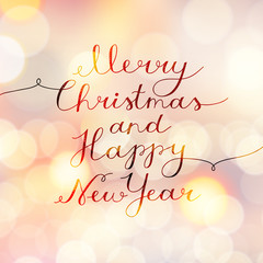 merry christmas and happy new year, vector lettering, handwritten text on blurred background with lights