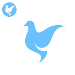 Dove. Stylized bird on white background