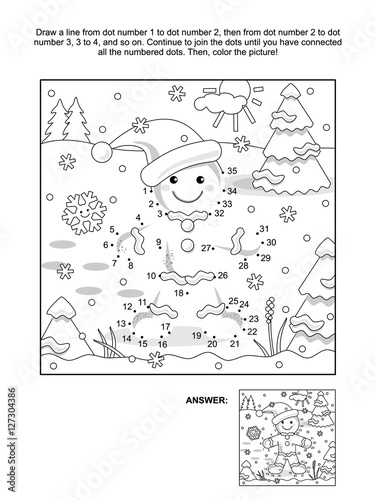 New Year Or Christmas Themed Connect The Dots Picture Puzzle And Coloring Page With Ginger Man