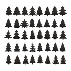 Christmas tree silhouette design vector set. Concept tree icon c