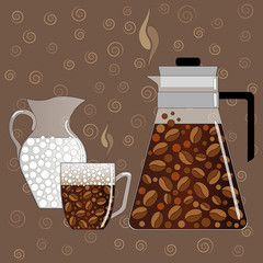 Coffee set. Vector illustration consisting of coffee pot, cups o
