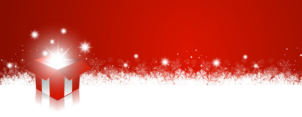 Wall Mural - red christmas background gift panorama