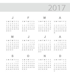 Vector of Calendar for 2017 on White Background. Simple Vector Template