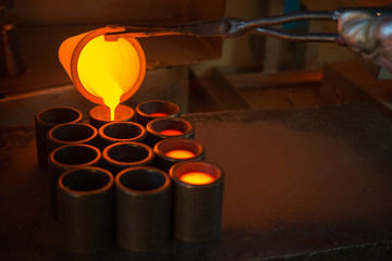 Smelting gold at a factory