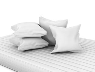 Closeup of white pillows on mattress. 3D illustration