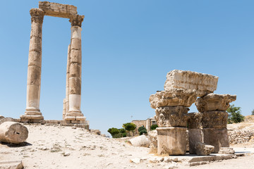 The pillars of the temple of Hercules in Amman