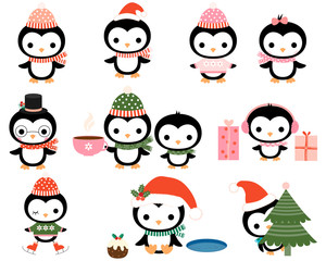Cute Christmas penguins with hats, scarves for greeting cards, baby shower designs and invitations