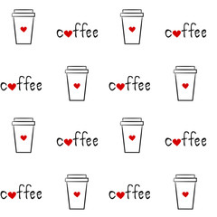 cute hand drawn linear illustration coffee paper cup seamless vector pattern background illustration