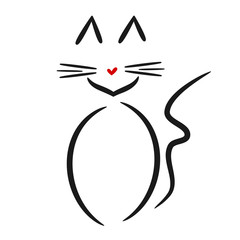 cute linear cat vector logo black white red