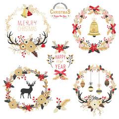 Gold Christmas Wreath Elements