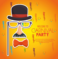 welcome carnival party gentleman mask confetti yellow background vector illustration eps 10