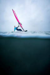 waterline with frontview windsurfer