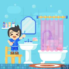 Smile Boy brushing teeth shower in bathroom. Modern flat vector illustration