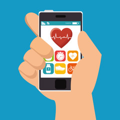 hand hold smarphone fitness application vector illustration eps 10