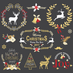 Gold Christmas Chalkboard Wreath Frame Collection