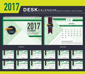 Desk Calendar 2017 Vector Design Template. Big set of 12 Months. Week Starts Monday