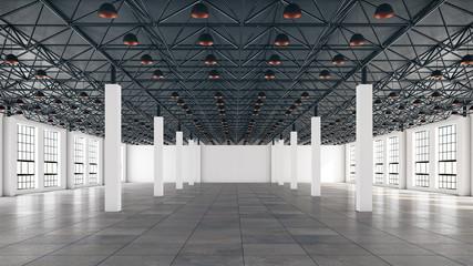 Mock up scene, showroom interior, loft space in the exhibition complex, 3d rendering