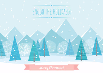 Beautiful Chrismas winter flat landscape background. Christmas forest woods with mountains. New Year vector greeting card.