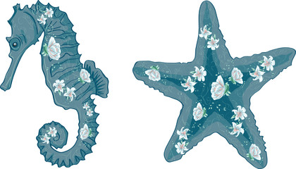 starfish and seahorse with flowers. Vector illustration for your design