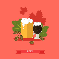 Foamy beer on hops leaves and strobiles background, vector illustration.