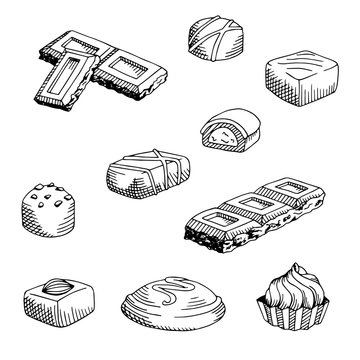 Chocolate graphic set black white isolated sketch illustration vector