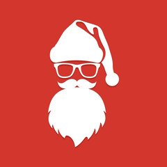 Santa Claus with beard and glasses. White silhouette with long s