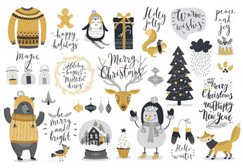 Fototapete - Christmas set, hand drawn style - calligraphy, animals and other elements.