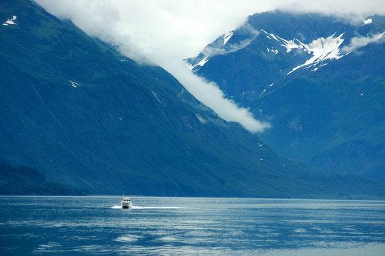 Boat Speeding Across Prince William Sound in Alaska