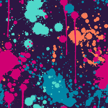 Seamless pattern with colorful paint splatters