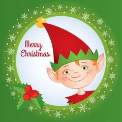 """Vector cartoon illustration. Holiday greeting card with text """"Merry Christmas"""" and portrait of a cute elf in a red cap with a jingle bell on it. Square format."""