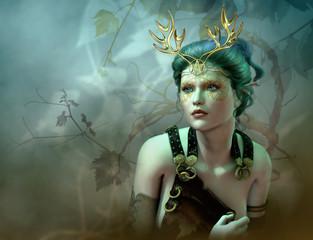 The Golden Antlers Portrait, 3d CG