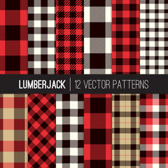 Lumberjack Buffalo Check Plaid Vector Seamless Patterns in Red, Black, Camel and White. Trendy Hipster Style Backgrounds. Tile Swatches made with Global Colors